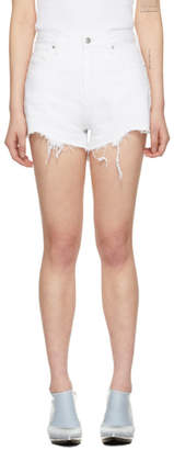 Alexander Wang White Denim Bite Zip Shorts