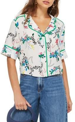 Topshop Monkey Print Pajama Shirt
