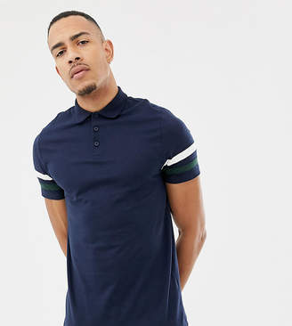 0c7d328f Asos Design DESIGN Tall polo shirt with contrast sleeve panels in navy