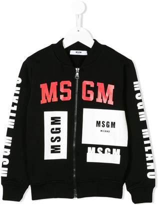 MSGM multi logo bomber jacket