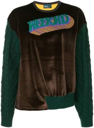 Kolor patch knitted sleeve sweatshirt