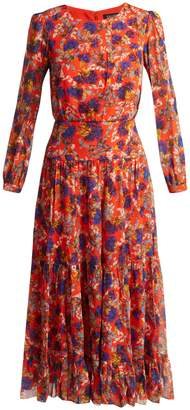 Saloni Isabel Azalea-print silk dress