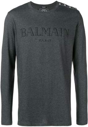 Balmain long sleeve logo T-shirt