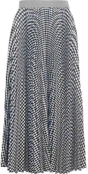 MSGM - Checked Pleated Crepe Midi Skirt - Black