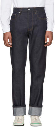 Helmut Lang Indigo Re-Edition Turn Up Raw Jeans