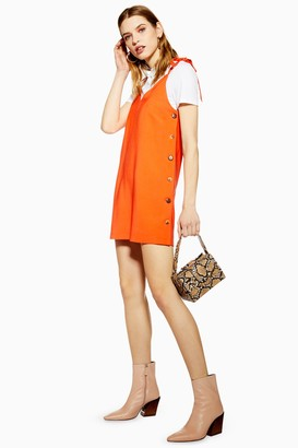 Topshop Womens Button Mini Slip Dress - Red