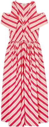 Fendi Cold-shoulder Striped Cotton-twill Midi Dress