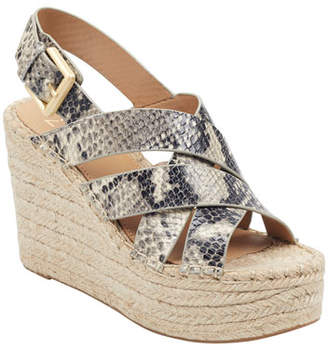 Marc Fisher Alenni Snake-Print Wedge Sandals