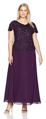 J Kara Women's Plus Size Flutter Sleeve Long Dress