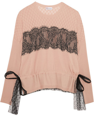 REDValentino - Point D'esprit And Lace-paneled Cotton Sweater - Blush $595 thestylecure.com