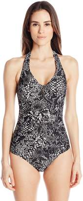 Calvin Klein Women's Bar Halter One Piece Swimsuit