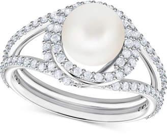 Swarovski Silver-Tone Pave & Imitation Pearl Ring
