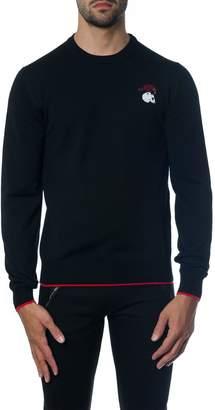 Alexander McQueen Black Wool Contrasting Edges Knitwear