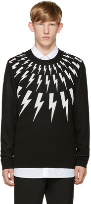 Neil Barrett Black & White Thunderbolt Sweater $445 thestylecure.com