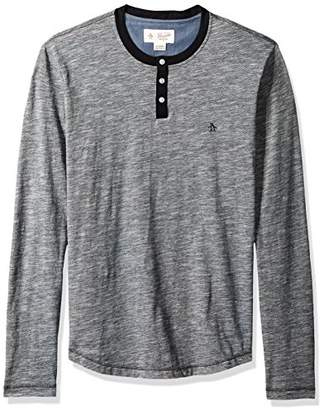Original Penguin Men's Long Sleeve Slub Feeder Stripe Henley