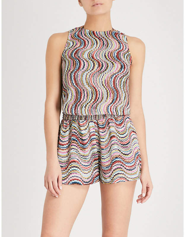 Wave-patterned woven playsuit