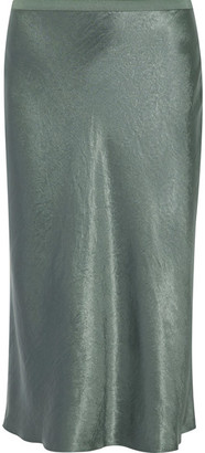 Vince - Hammered-satin Midi Skirt - Gray green $255 thestylecure.com