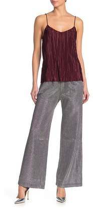 Know One Cares Metallic Pleated Pants