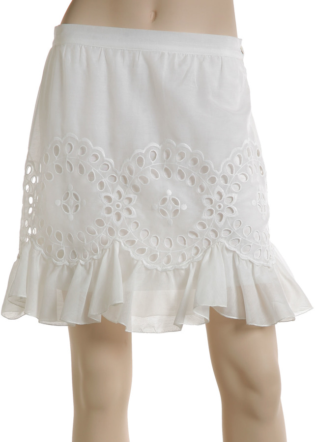 Max Studio Embroidered Ruffle Hem Skirt