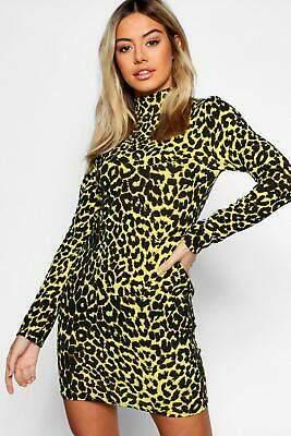 boohoo NEW Womens Petite High Neck Animal Print Mini Dress in Polyester