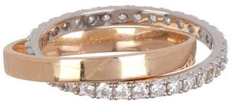 Crislu Two-Tone Vermeil Interlinked CZ Pave Ring - Size 6