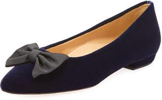 Neiman Marcus Gervin Velvet Flat w/ Bow, Blue/Black