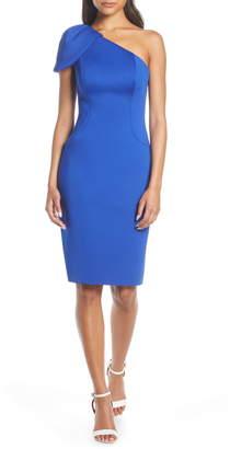 Eliza J One-Shoulder Body-Con Scuba Crepe Dress