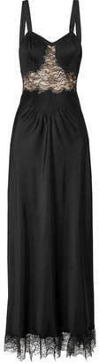 Paco Rabanne Lace-paneled Satin Maxi Dress - Black