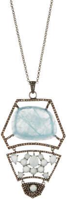 Bavna Aquamarine & Diamond Tiered Pendant Necklace