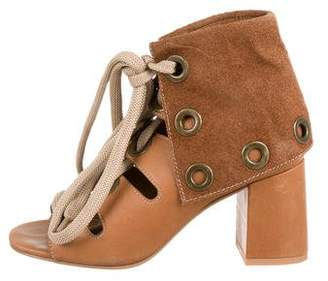 See by Chloe Lace-Up Cutout Booties