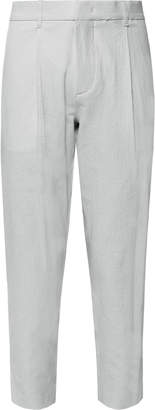 Theory Page Tapered Stretch-Cotton Seersucker Trousers