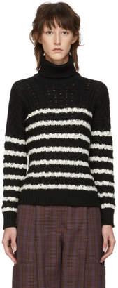 Loewe Black Striped Cable Knit Turtleneck