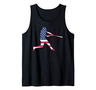 american usa flag baseball swinging batter hitter players Tank Top