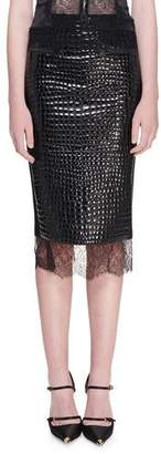 Tom Ford Crocodile Embossed Chantilly Lace Trim Skirt