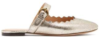 Chloé Lauren Scallop Edge Leather Backless Loafers - Womens - Light Gold