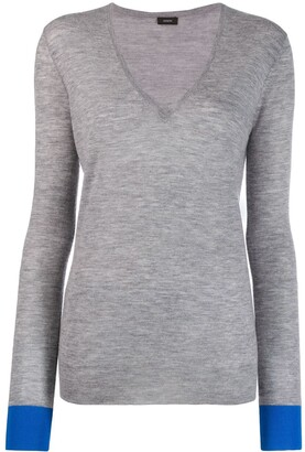 Joseph V-neck long-sleeve jumper