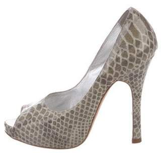 Luciano Padovan Embossed Peep-Toe Pumps