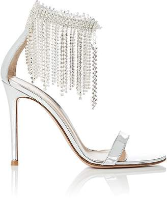 Gianvito Rossi Women's Crystal-Fringed Specchio Leather Sandals