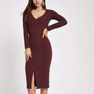 River Island Dark red ribbed button front bodycon dress