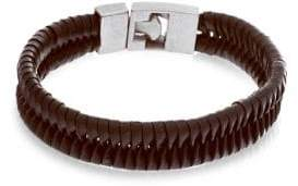 Lord & Taylor Stainless Steel & Braided Leather Bracelet