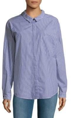 Sanctuary Tie Back Cotton Boyfriend Button-Down Shirt