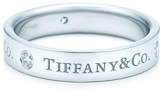 Tiffany & Co. band ring in platinum with diamonds, 4 mm - Size 11 1/2