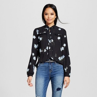 Mossimo Women's Victorian Ruffle Blouse with Tie Neck Black Floral Print - Mossimo $22.99 thestylecure.com