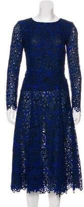 Oscar de la Renta Silk Midi Dress Blue Silk Midi Dress