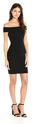 Nicole Miller Women's Structured Jersey Off Shoulder Dress