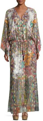 Etro Paisley Belted Long-Sleeve Gown, Pink/Multi $2,270 thestylecure.com