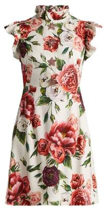 Dolce & Gabbana Peony Print Ruffle Trimmed Dress - Womens - White Multi