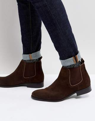 Ben Sherman Chelsea Boots In Brown Suede