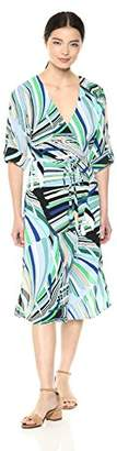 Adrianna Papell Women's Emilio Maze MIDI WRAP Dress,8