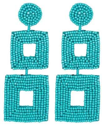 Kenneth Jay Lane Turquoise Seed Bead Open Double Square Shape Drop Pierced Or Clip Earrings